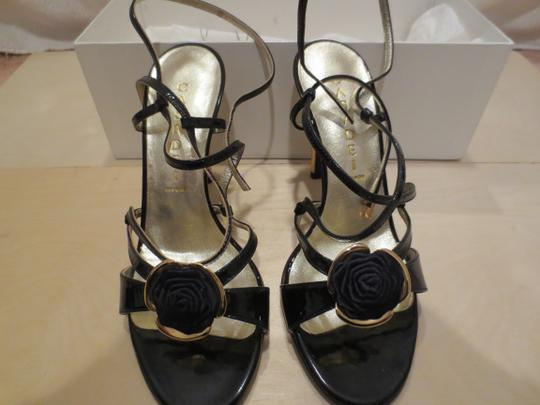 Casadei Rosette Heel High Two Tone Black & Gold Formal Image 4