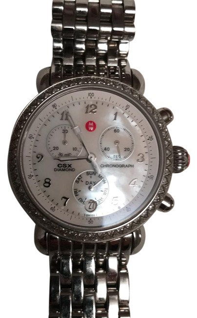 Michele Stainless Steel/Diamond/Mother Of Pearl Csx Chronograph Bezel Ladies Watch Michele Stainless Steel/Diamond/Mother Of Pearl Csx Chronograph Bezel Ladies Watch Image 1
