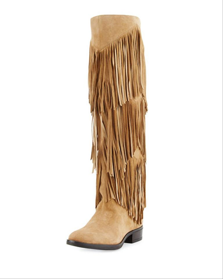 46aa461a50bf21 Sam Edelman Tan Pendra Kid Suede Oatmeal Fringe Tall Boots Booties. Size   US 6 ...