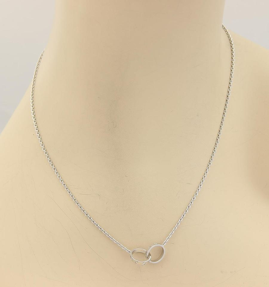 ef9e5a6b902fe Cartier White Gold Baby Love Infinity Double Mini Ring 18k Pendant Necklace