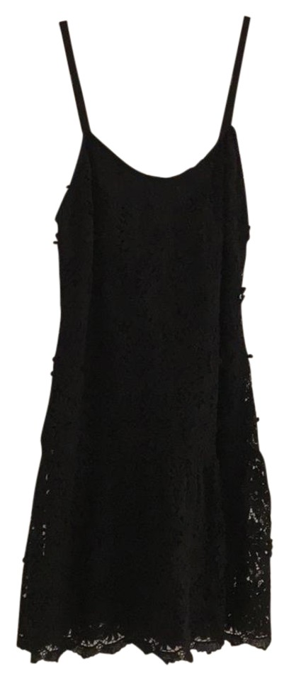 Alice Olivia Black And Navy Fit Flare Short Casual Dress Size 4 S