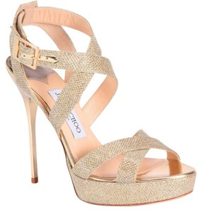 Jimmy Choo gold Platforms