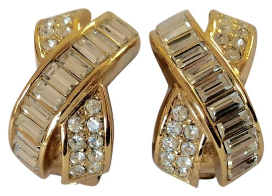 Preload https://img-static.tradesy.com/item/21987051/dior-gold-and-clear-vintage-criss-cross-x-straus-crystal-clip-earrings-0-1-540-540.jpg