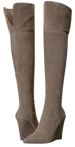 Pour La Victoire Suede Wedge Over The Knee Grey Boots