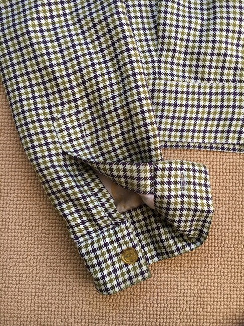 Cynthia Rowley Purple/Olive Green houndstooth Jacket
