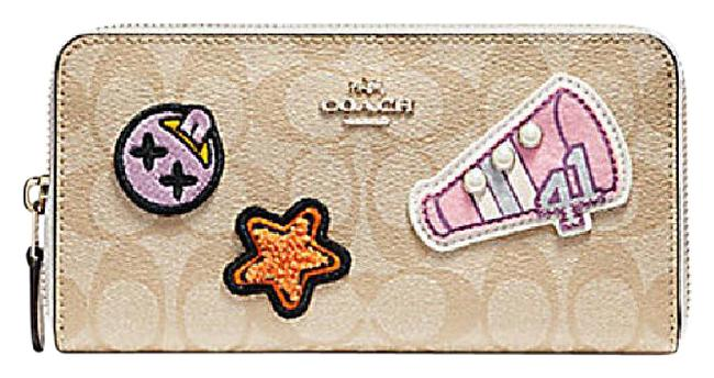Coach Gold Chalk White Accordion Zip In Signature Varsity Patches F 20968 Wallet Coach Gold Chalk White Accordion Zip In Signature Varsity Patches F 20968 Wallet Image 1