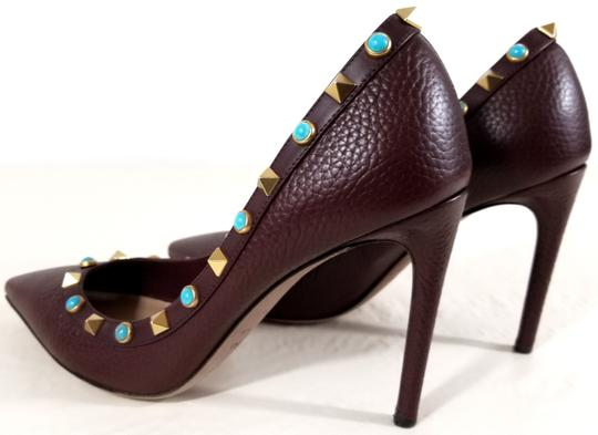 Valentino Rockstud Rolling Turquoise Burgundy Pumps