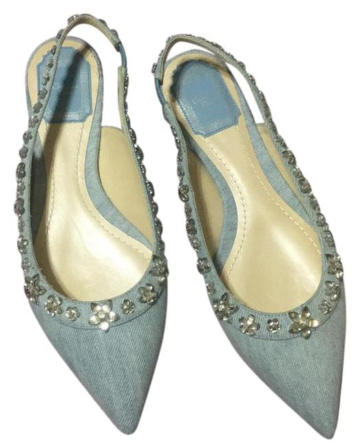 Dior Blue Garland Denim Slingback Crystals 38 Flats Size US 8 Regular (M, B) Dior Blue Garland Denim Slingback Crystals 38 Flats Size US 8 Regular (M, B) Image 1