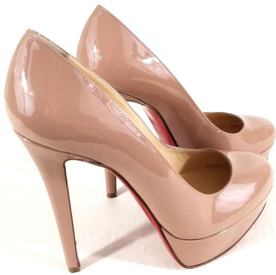 Christian Louboutin 120mm Stiletto Heel Round Toe Strong Platform Made In Italy Leather Nude Patent Pumps