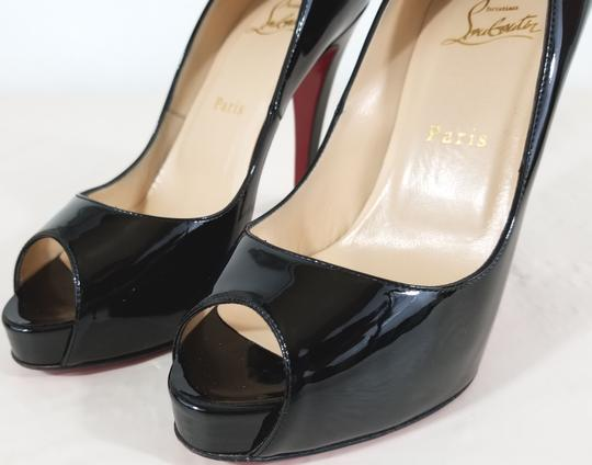 Christian Louboutin 120mm Stiletto Heel Strong Platform Made In Italy Leather Open Toe Black Patent Pumps