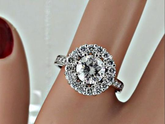14k White Gold 1.94 Ct Round Diamond Halo In 14 Kt Engagement Ring