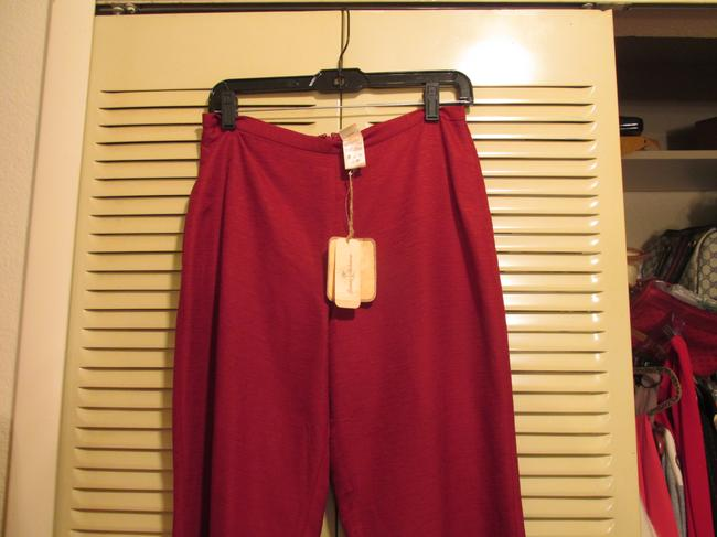Talbots - Tommy Bahama Top Maroon with Black Fur - Pants 100% Silk