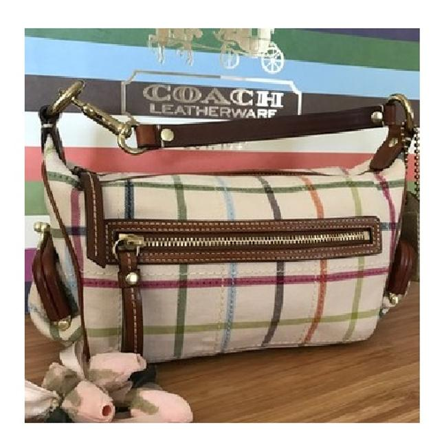 Coach Limited Edition~rare Bleeker Top Handle Pouchette Multicolor/Gold/Caramel Brown Tattersall Fabric/Genuine Leather Baguette Image 1