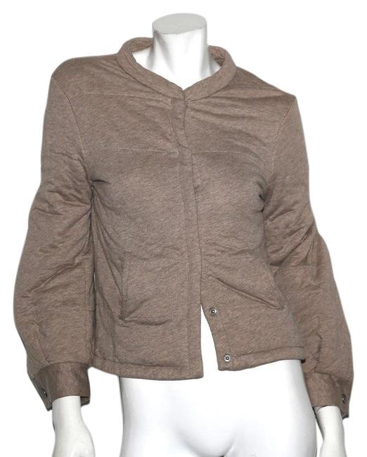 Item - Khaki Leather Brown Cotton Puff Sleeve Jacket Size 10 (M)