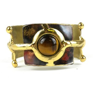 Brass Images Gold Tiger Eye Ball and Jack Brass Cuff