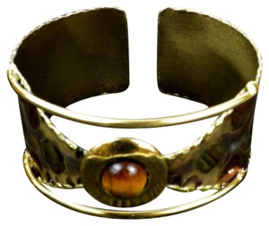 Brass Images Leopard Cuff with Tigers Eye Stone