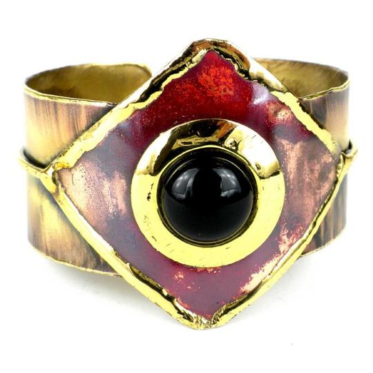 Brass Images Onyx Brass and Copper Cuff