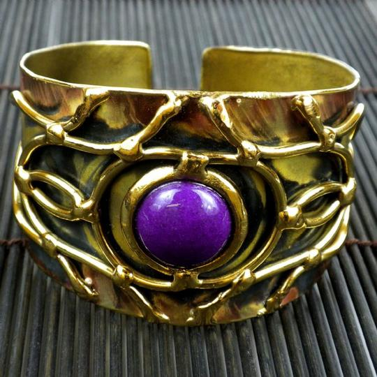 Brass Images Purple Jade Abstract Cuff