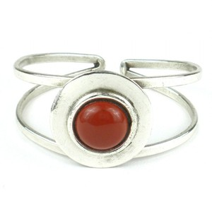 Brass Images Red Jasper Silver Plated Disc Cuff