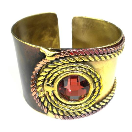 Brass Images Rope and Rose Stone Brass Cuff