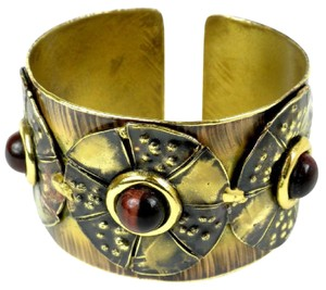 Brass Images Roulette Red Tiger Eye Brass Cuff