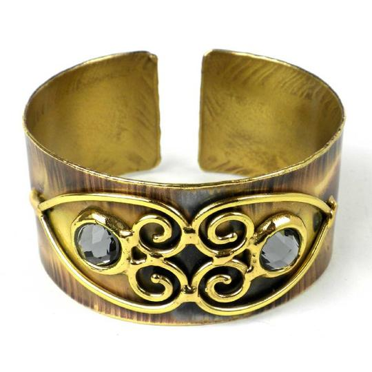 Brass Images Scrolling Hearts and Grey Crystal Brass Cuff
