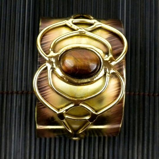 Brass Images Tiger Eye Bloom Cuff