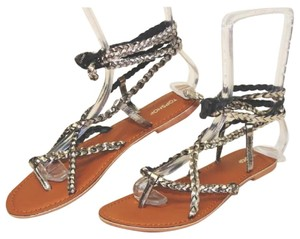 Topshop silver black metallic Sandals