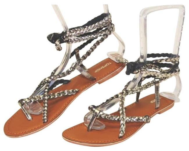 Topshop Silver Black Metallic Crisscross Braided Ankle Sandals Size EU 39 (Approx. US 9) Regular (M, B) Image 1