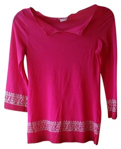 Zara Sheer Hot Pink 90s Style Indian Inspired Sheer T Shirt Fuchsia and gold