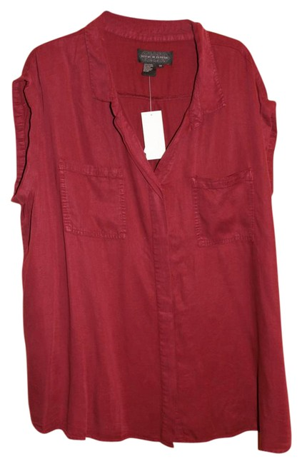 Preload https://img-static.tradesy.com/item/21988153/live-a-little-wine-short-sleeve-rolled-button-up-soft-button-front-blouse-size-26-plus-3x-0-2-650-650.jpg