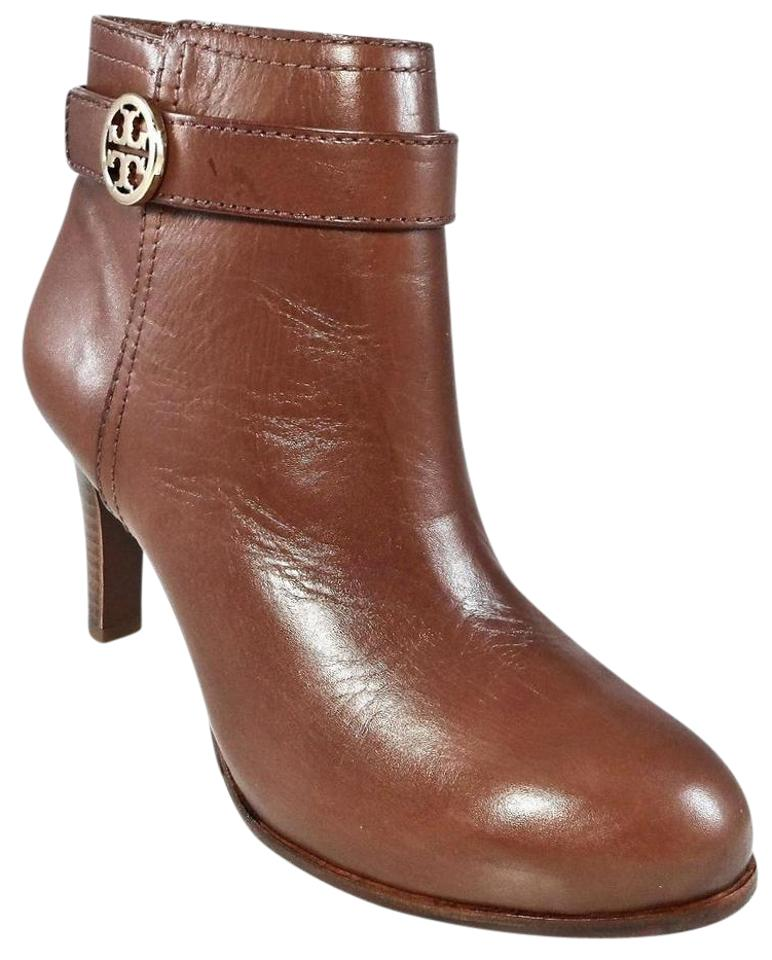41f8be52edbd Tory Burch Leather Stiletto Logo Gold Hardware Brown Boots Image 0 ...