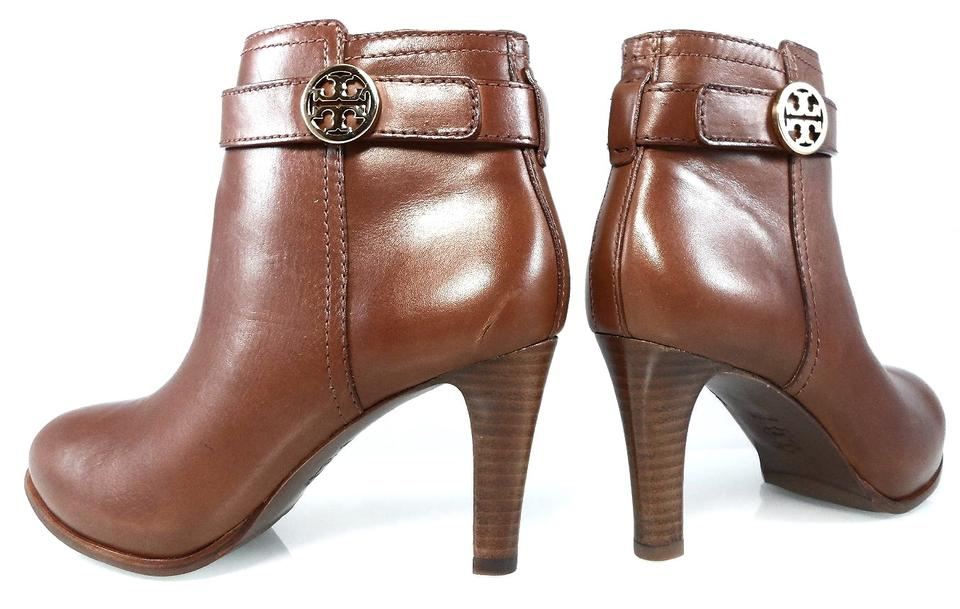 c486ce87c857 Tory Burch Brown New Bristol Equestrian Belted Logo Ankle Boots Booties  Size US 6.5 Regular (M