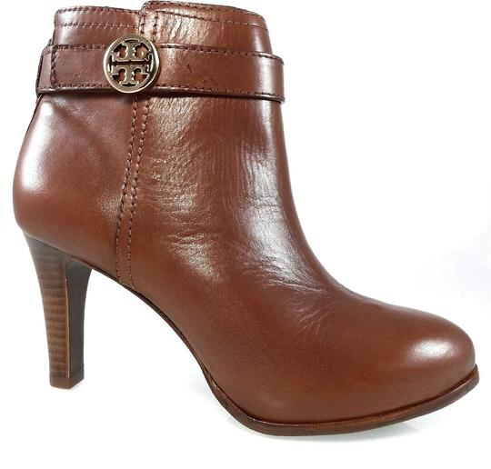 Tory Burch Leather Stiletto Logo Gold Hardware Brown Boots