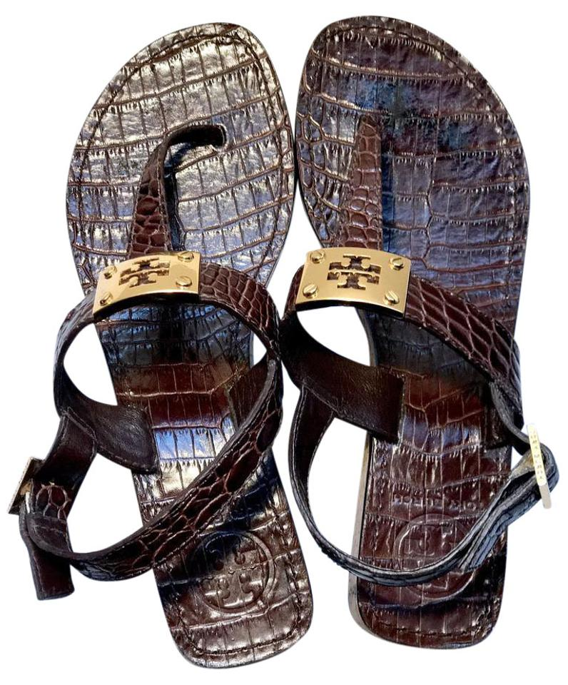 2c2c61ca8ab8cf Tory Burch Brown Leather Croc Ankle Strap Logo Thong Sandals Size US ...