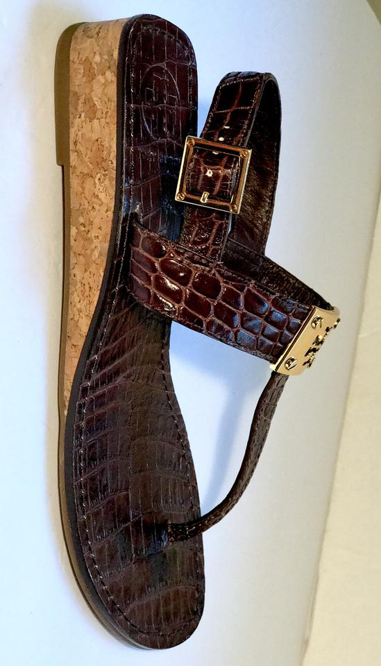 03a1bdd0641c2f Tory Burch Croc Leather Thong Ankle Strap Wedge Brown Sandals Image 11.  123456789101112. 1 ∕ 12