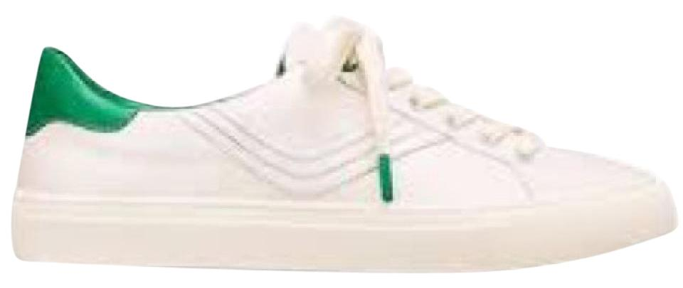 4841da025063 Tory Burch White Green  Chevron Color Block Sport Sneaker Block  Calf  Leather Sneakers