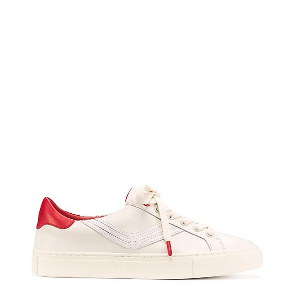 066b8414f41c Tory Burch White Red  Chevron Color Block Sport Sneaker Block  Calf Leather  Sneakers