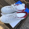 Tory Burch Leather Sneaker White Red/ Chevron Color Block Athletic Image 1