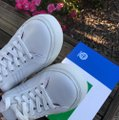 Tory Burch Leather Sneaker White Red/ Chevron Color Block Athletic Image 5