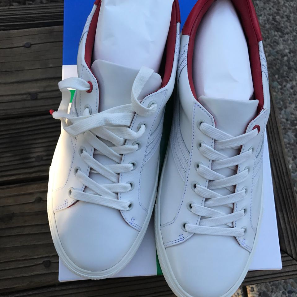 e14058ec541f Tory Burch Leather Sneaker White Red  Chevron Color Block Athletic Image 8.  123456789