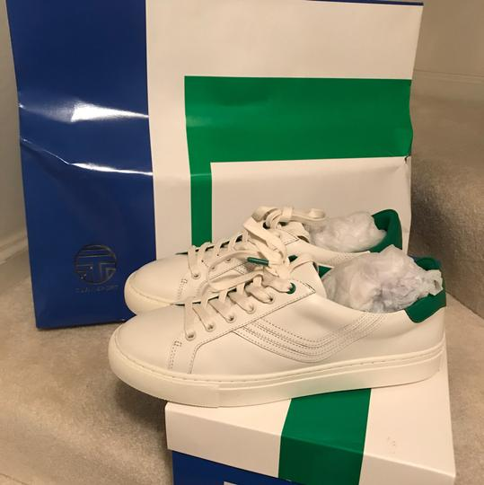 Tory Burch Leather Sneaker White Green/ Chevron Color Block Athletic