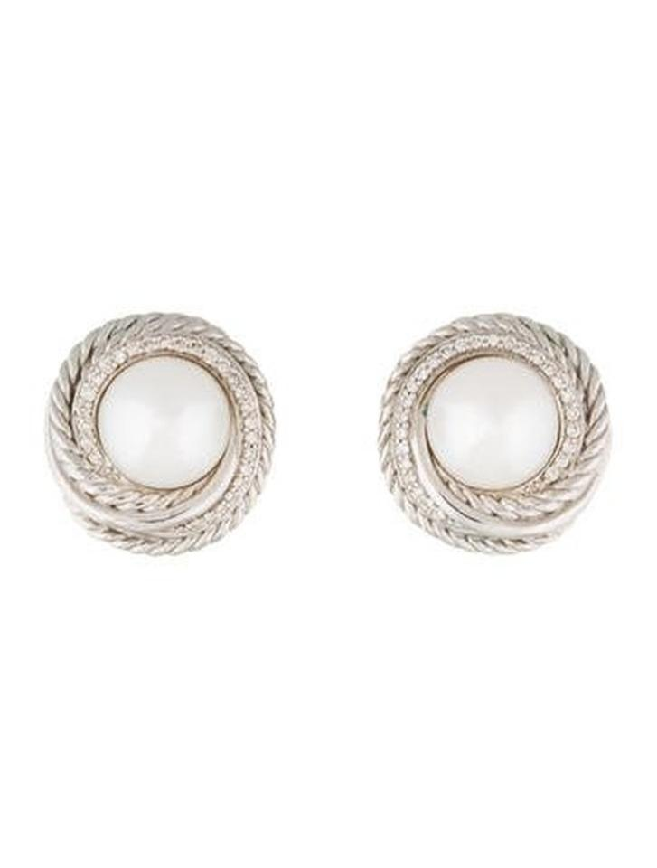 David Yurman Silver Pearl Crossover With Diamonds Earrings 20 Off Retail