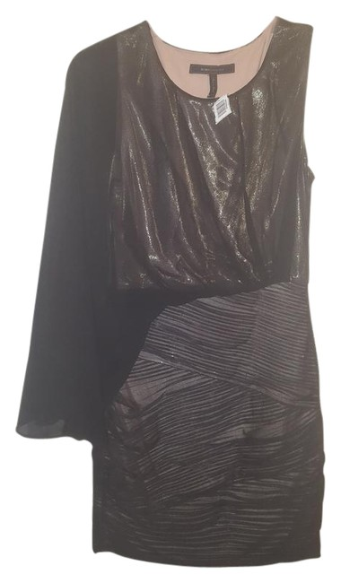 BCBGMAXAZRIA Black (Gold Underlay) Runway One-sleeve Short Night Out Dress Size 4 (S) BCBGMAXAZRIA Black (Gold Underlay) Runway One-sleeve Short Night Out Dress Size 4 (S) Image 1