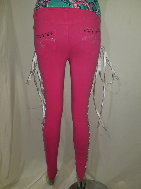 Justice Petite Studded Skinny Pants Pink/Silver