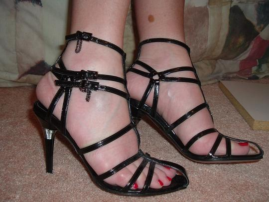 Rodolphe Menudier Strappy High Heels Buckles Straps Black Sandals