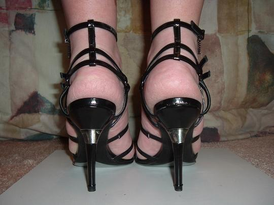 Rodolphe Menudier Strappy High Heels Buckles Straps Black Sandals Image 5