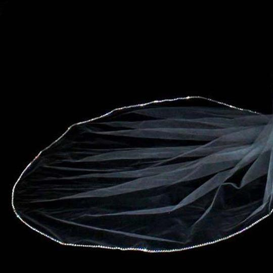 Diamond White Long Large Swarovski Rhinestone Edge Cathedral Bridal Veil