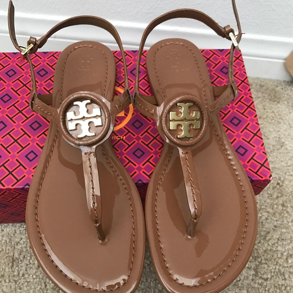 6a5313f27e77 Tory Burch Royal Tan   Dillan   Soft Patent Leather Sandals. Size  US ...