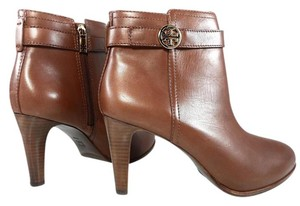 Tory Burch Leather Stiletto Logo Gold Hardware Brown Boots - item med img